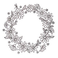 Free hand-embroidery pattern: Daisy wreath
