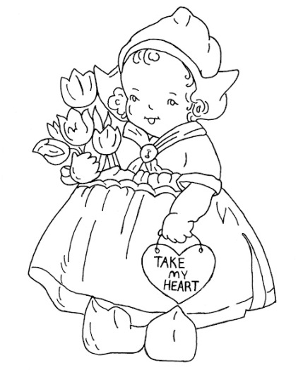 Free hand-embroidery pattern: Valentine Dutch girl