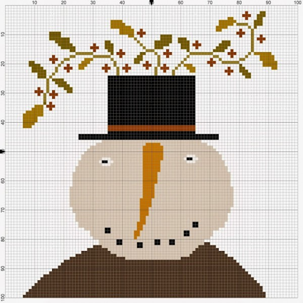 Embroidery Chart ? Primitive Snowman