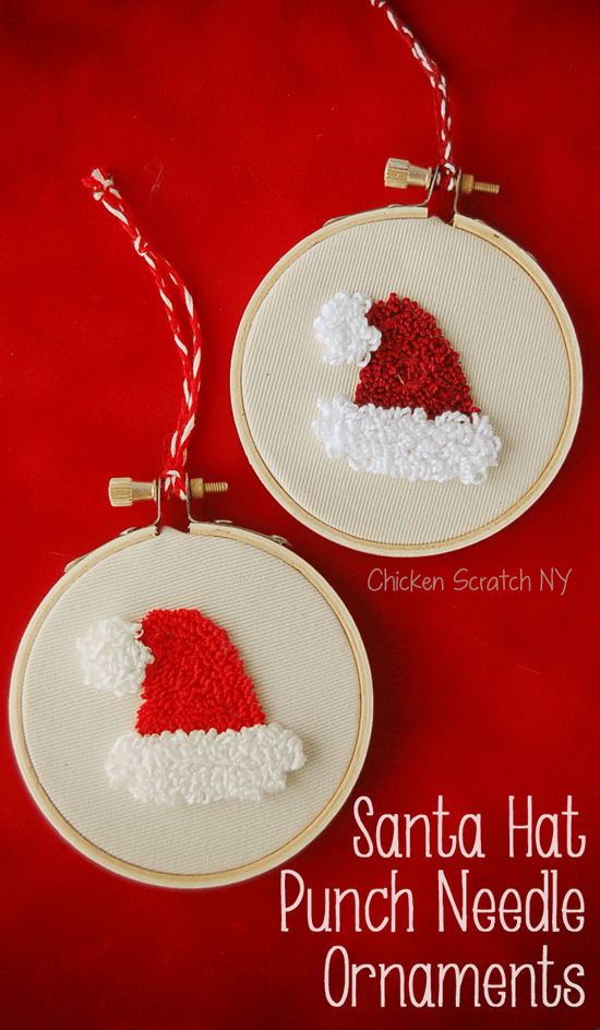 Punch Embroidery Santa Ornaments