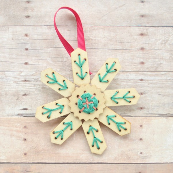 DIY Embroidery Tree Ornaments