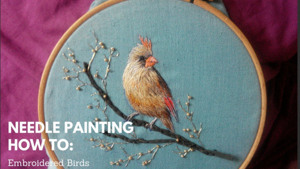 Needle Painting – Embroidered Birds