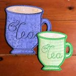 Free Pattern In the Hoop - ITH- Tea cup Coffee Cup Coasters