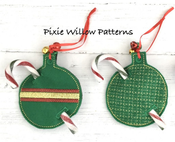 Free Pattern In The Hoop – ITH – Christmas Bauble Candy Cane