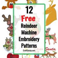 12 Free Reindeer Machine Embroidery Designs
