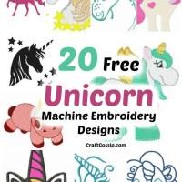 20 Free Unicorn Machine Embroidery Designs