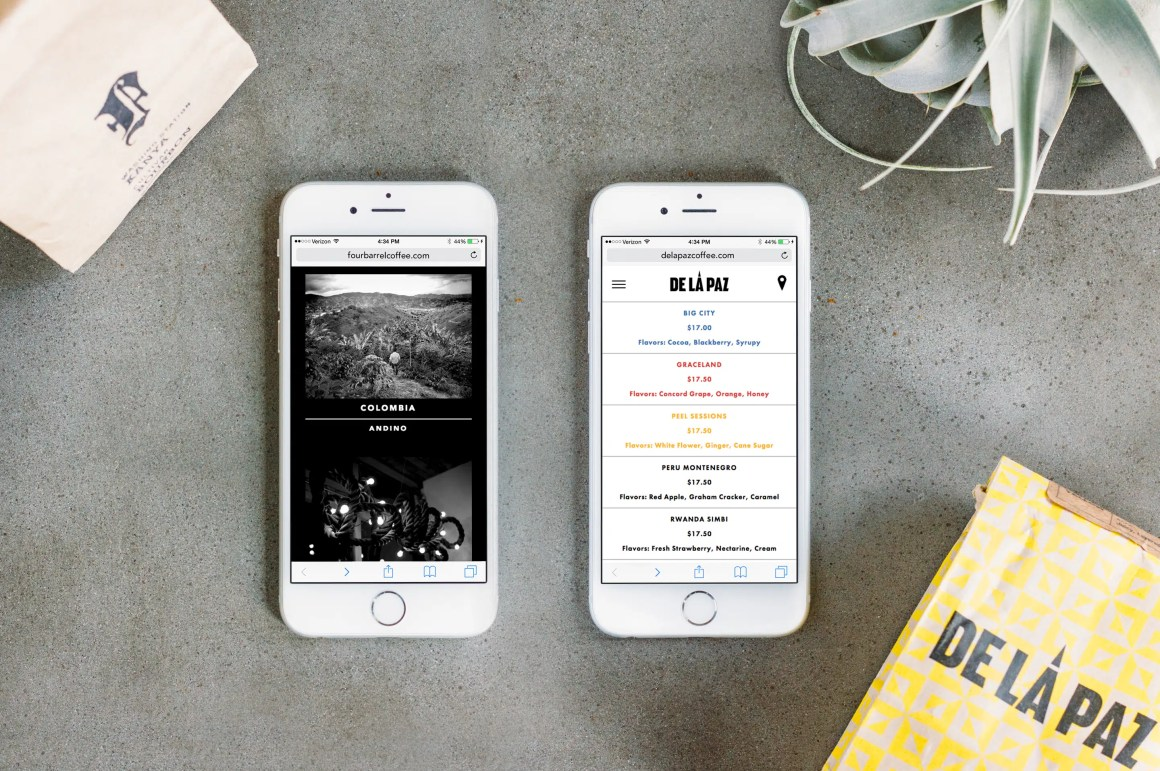 Four Barrel and De La Paz websites on iPhone