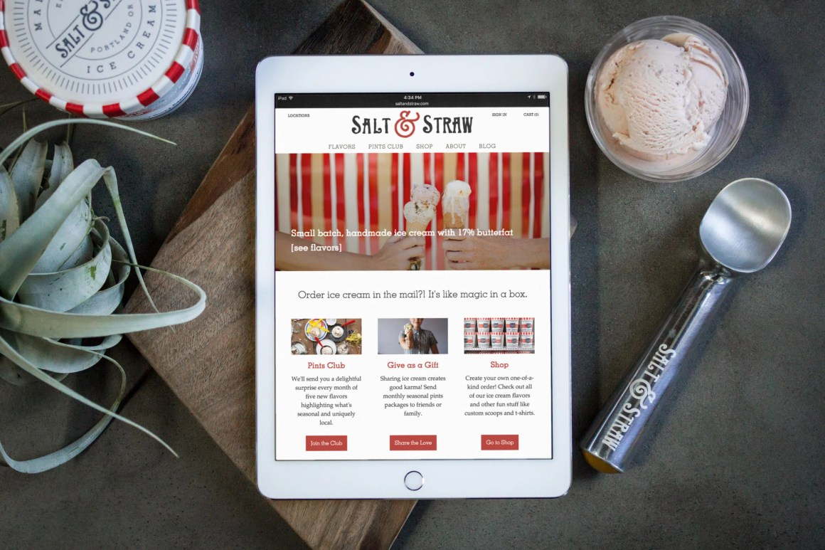 Salt & Straw website on iPad