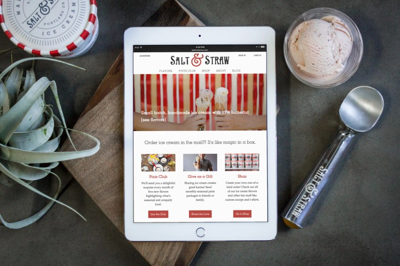 Home page of the Salt & Straw website redesign shown on an iPad
