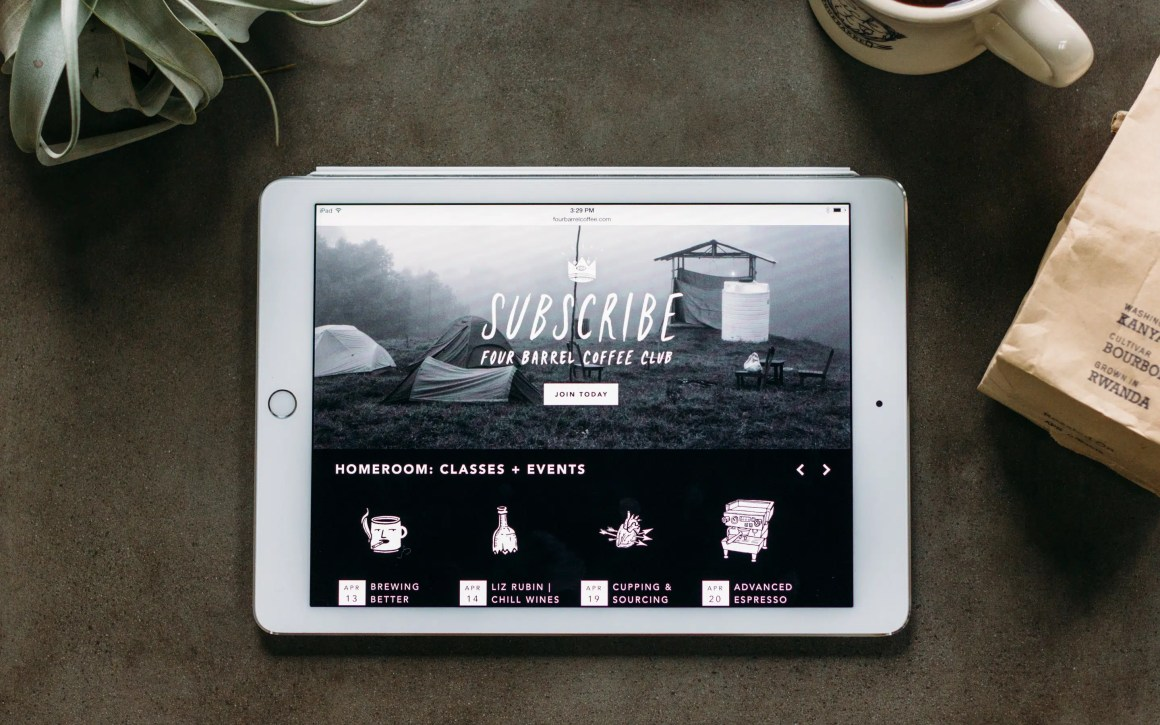 Four Barrel website home page on iPad