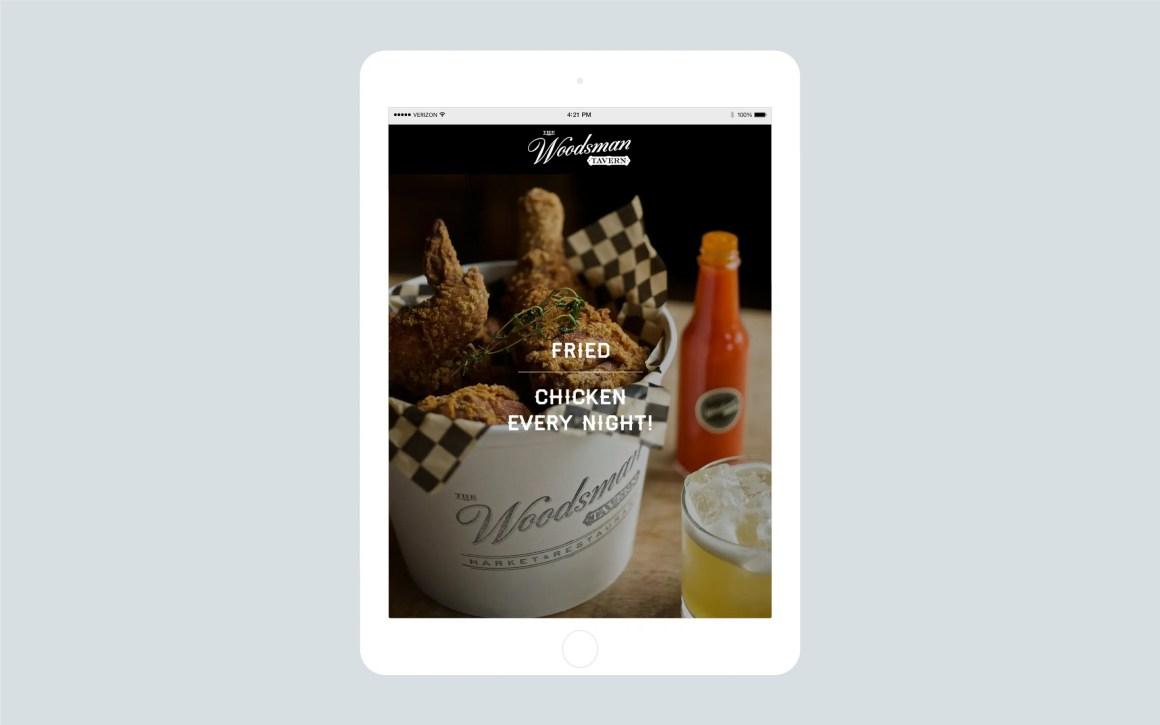 Woodsman Tavern home page on iPad