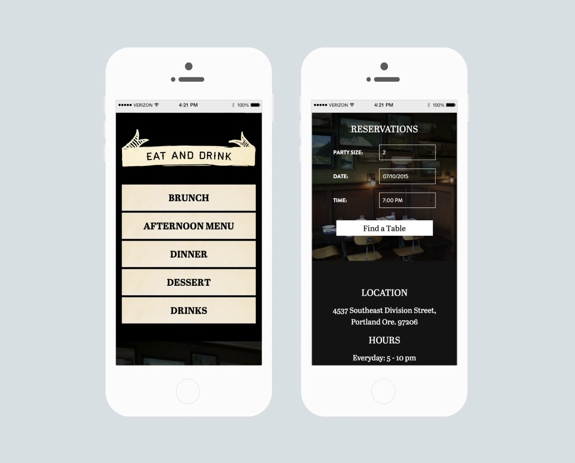 Woodsman Tavern menu/website on iPhone