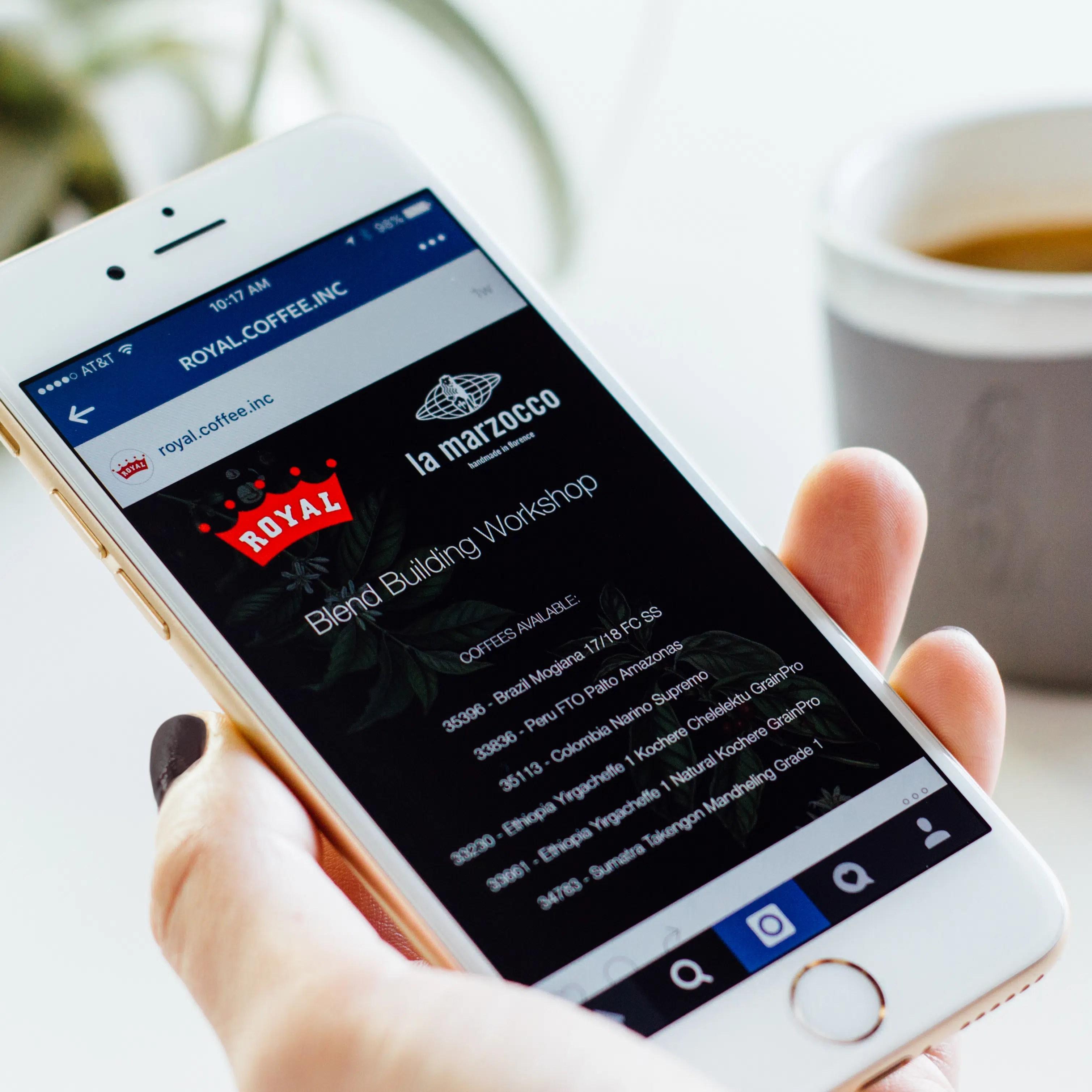 Royal Coffee website on iPhone