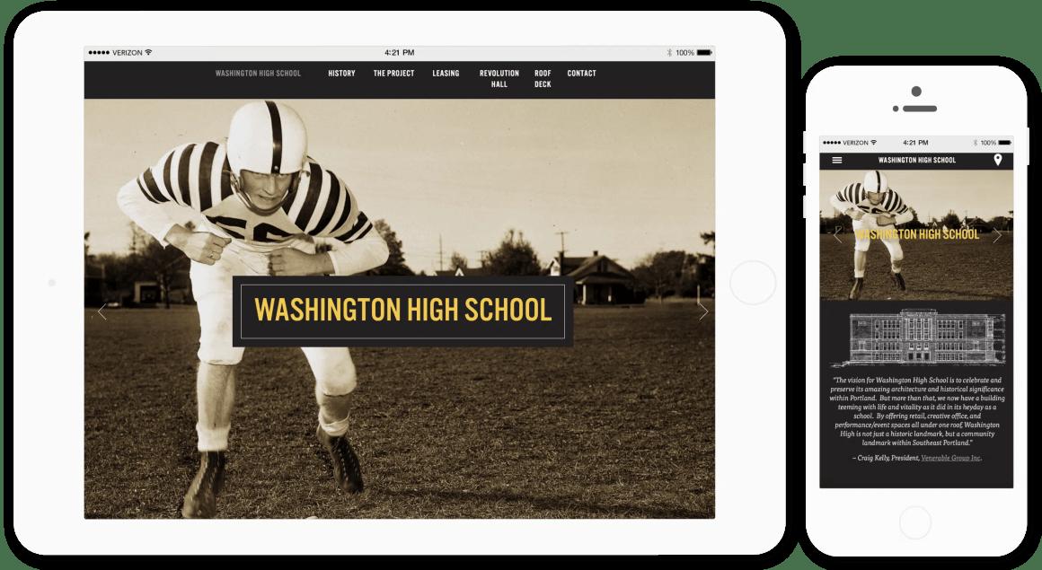 Washington High School website responsive view