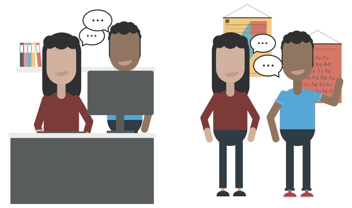 Developer and designer working together, side-by-side