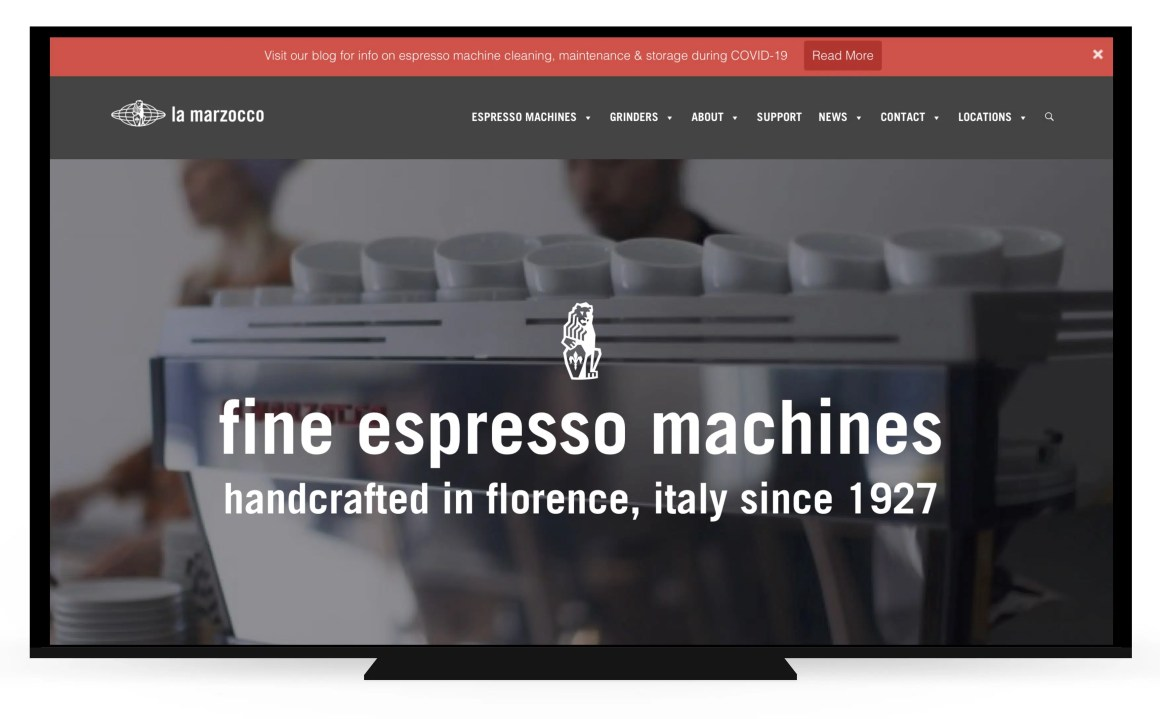 Top Bar on La Marzocco site