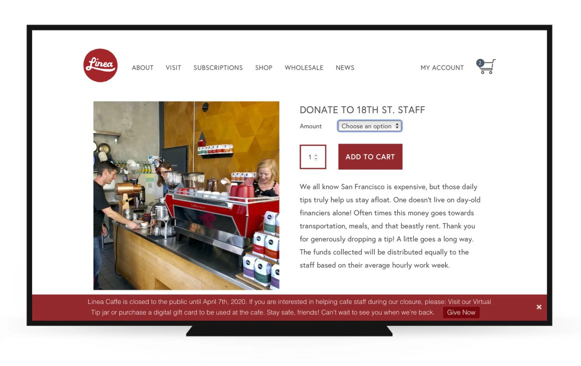 Linea Caffe virtual tip jar page
