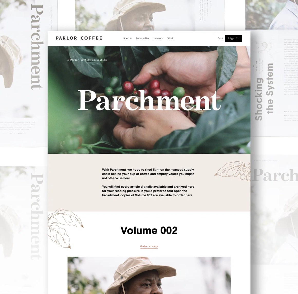Parchment landing page on parchment background