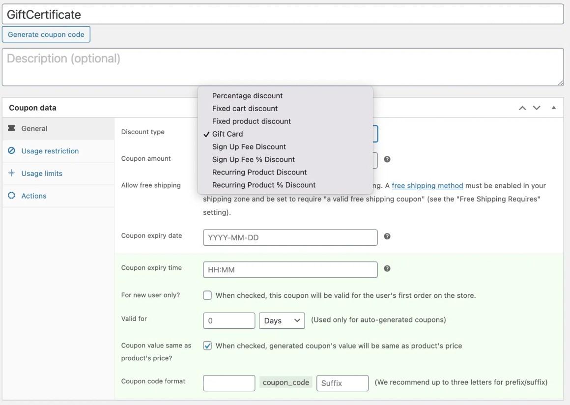 Screenshot of coupon admin area
