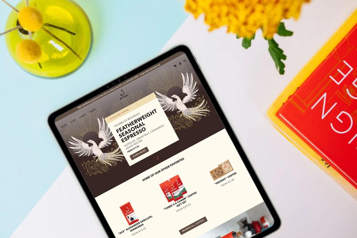 Ritual homepage on iPad
