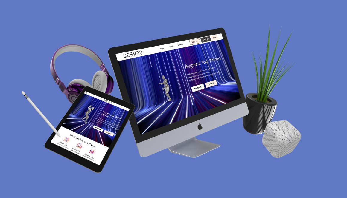 GESREC home page on a tablet and iMac with floating pen tool, headphones, speaker, and plant.