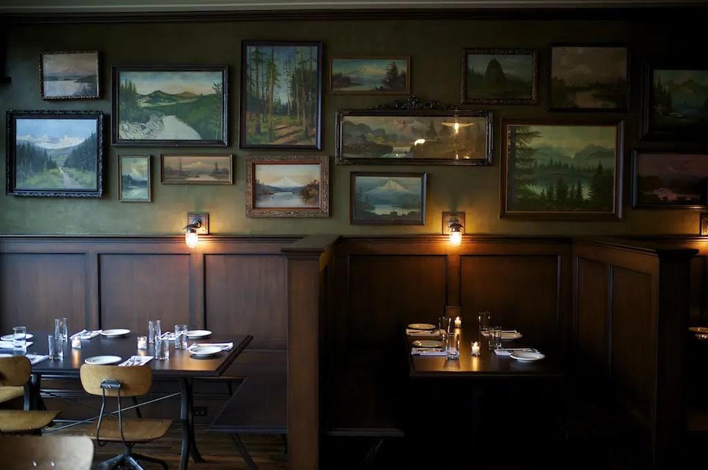 Woodsman Tavern art wall