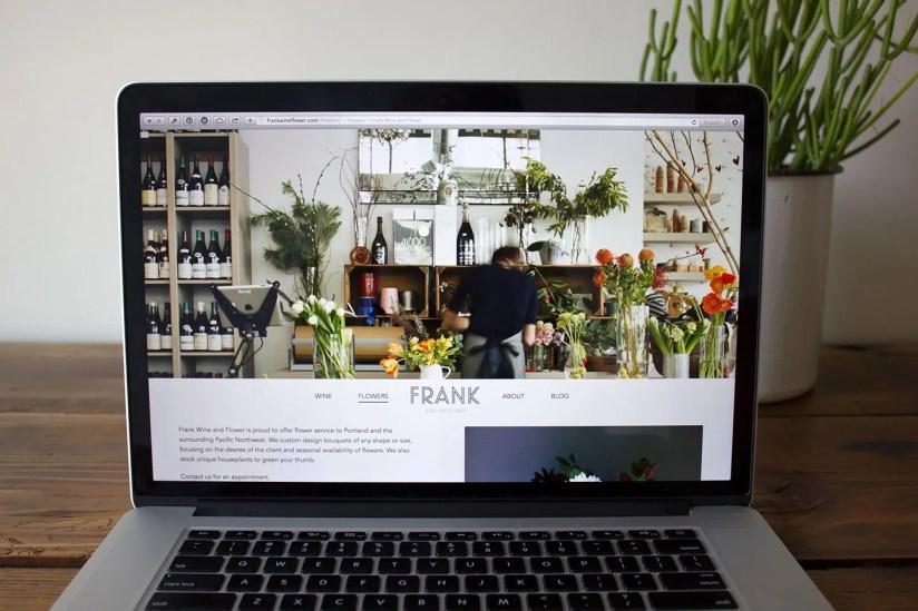 Frank Wine & Flower website on a Mac
