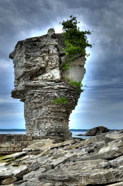 Rock formations on Flowerpot Island in Georgian Bay