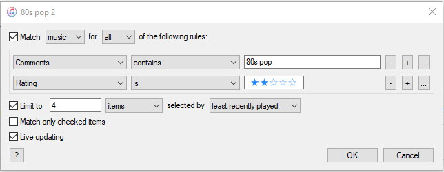 80s pop 2 smart playlist settings