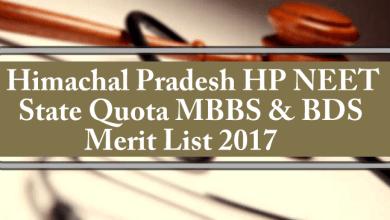 Himachal Pradesh HP State Quota MBBS BDS Merit List 2017