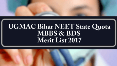 UGMAC Bihar NEET State Quota MBBS BDS Merit List 2017