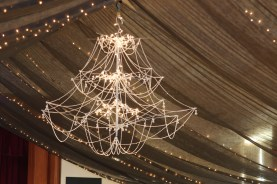 6' Chandelier (made from 3 umbrellas, beads and lights) by Jacob Stratford