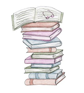 Drawing - pile of books