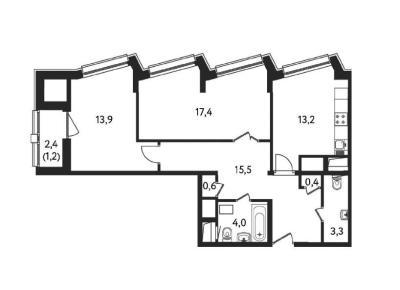 Квартира с 1-й спальней 69 м