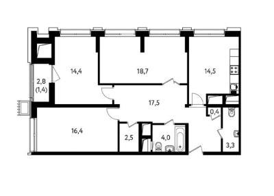 Квартира с 2-я спальнями 93 м