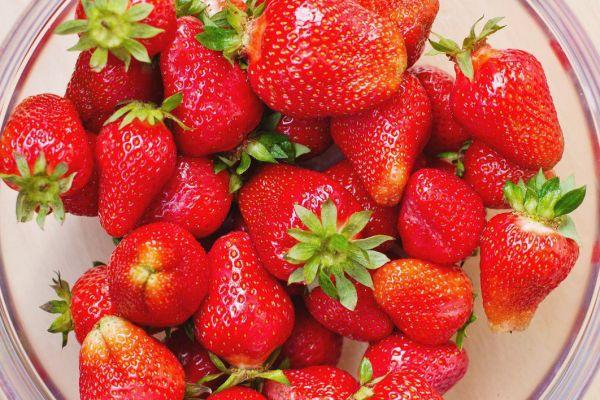 Fresh Strawberries Bowl Free Stock Photo NegativeSpace