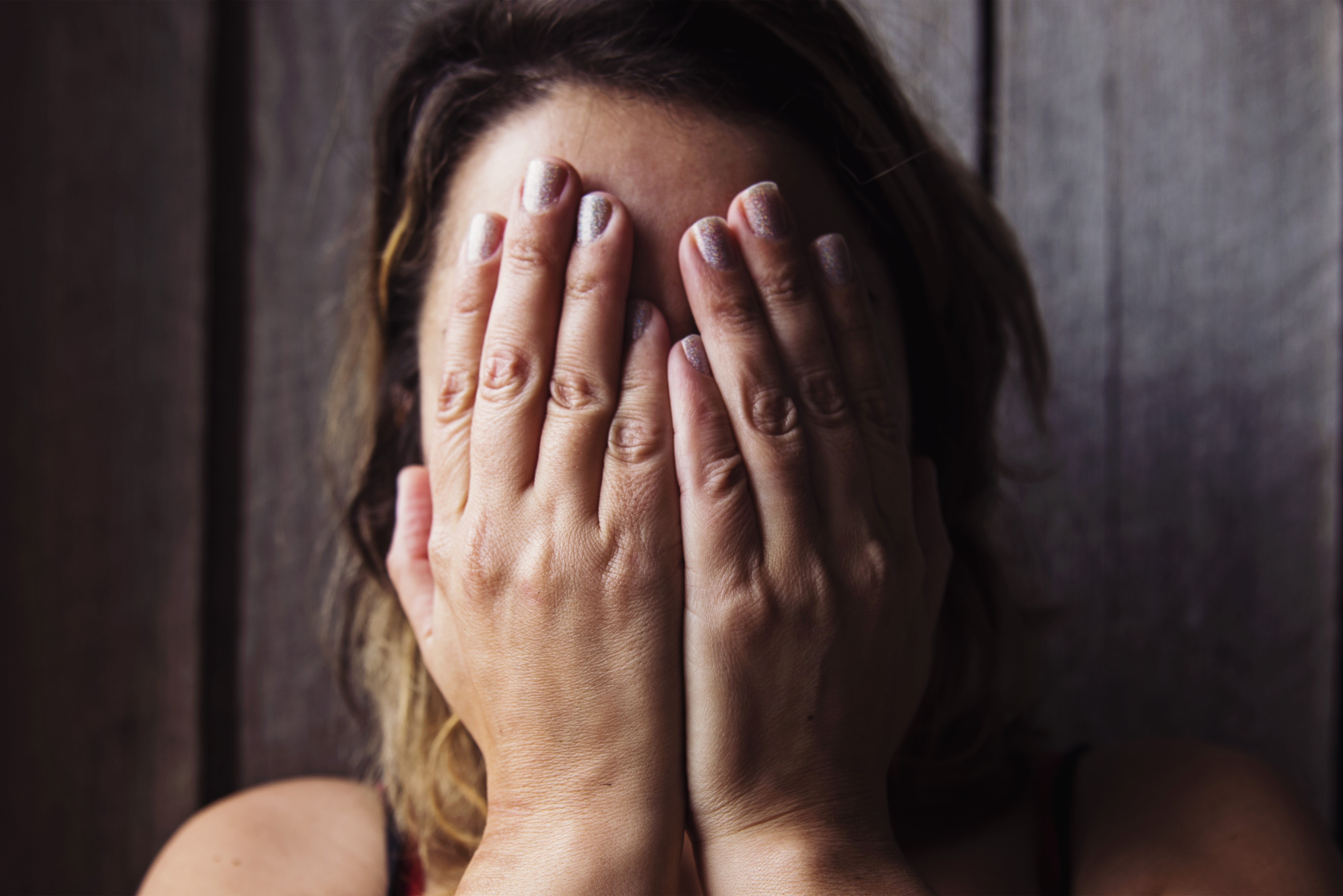 Woman Covering Face Hands Free Stock Photo  NegativeSpace