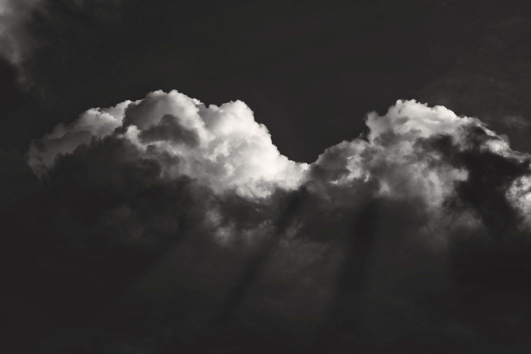 black white dramatic clouds