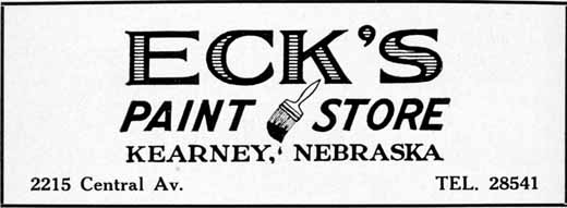 Kearney City Directory, 1952, Table of Contents
