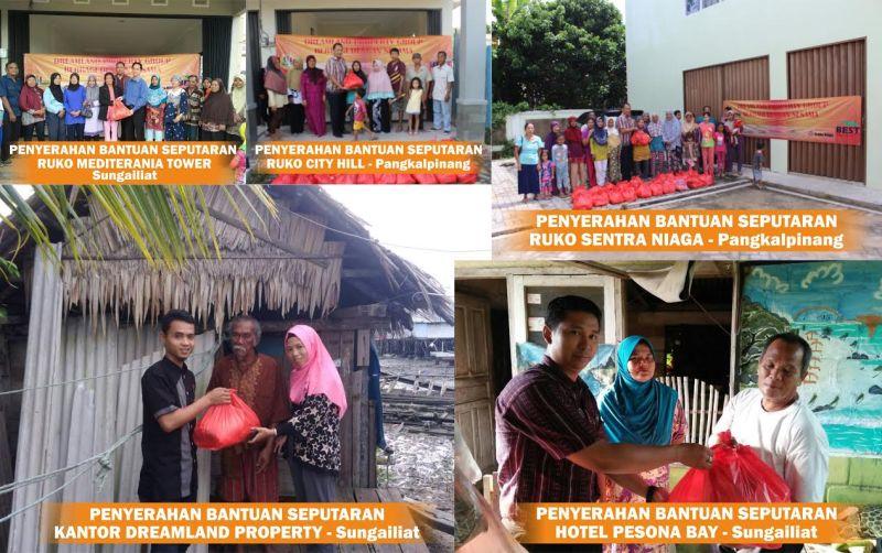Tim Dreamland Property Group saat memberikan bantuan paket sembako bagi warga kurang mampu di Pangkalpinang dan Sungailiat, Bangka.
