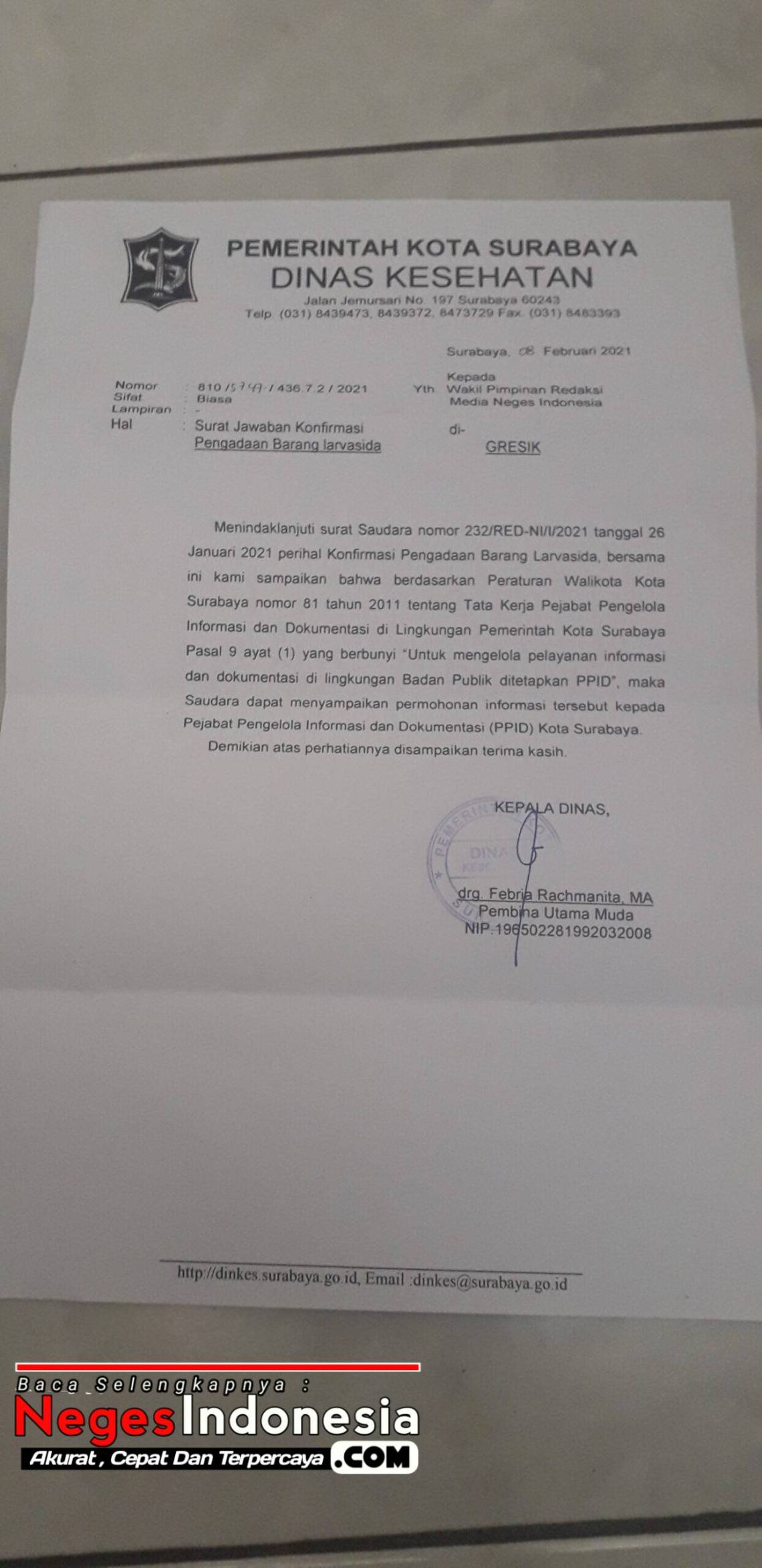 Surat Balsan Dinas Kesehatan Kota Surabaya