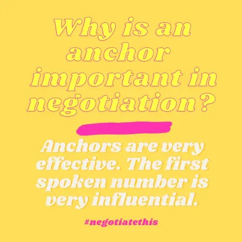 Anchors are very important in negotiation