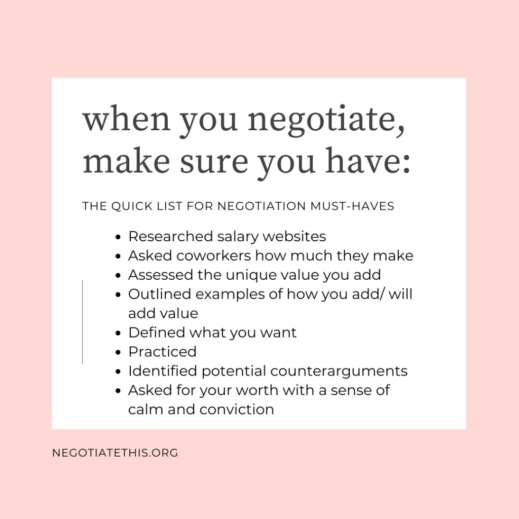 when you negotiate, make sure you have