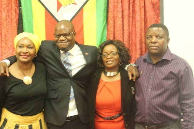 Zanu PF UK chairman Nick Mangwana (second from left)