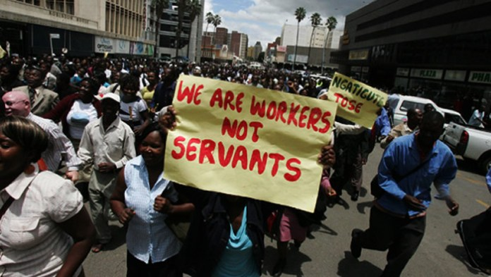 File Photo of Zimbabwe civil servants on strike