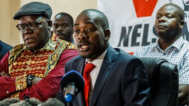 MDC Alliance president Nelson Chamisa (centre) and Tendai Biti (Alliance principal) (centre) and Amos Chibaya (Organising Secretary) - right.