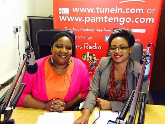 Munyaradzi Sajanga (right) with Florence Chaurura on Pamtengo Radio