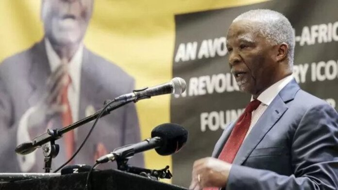 Former President Thabo Mbeki addressing ANC members at former Zimbabwe President Robert Mugabe's memorial service which was held at the Durban City Hall. Picture: Sibonelo Ngcobo/African News Agency(ANA)