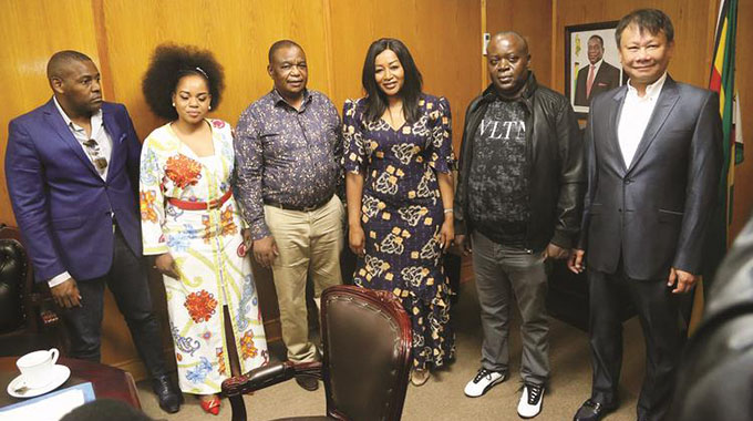 FILE PICTURE: Vice President Constantino Chiwenga poses for a picture with investors (from left) Frank Buyanga, Evelyn Chakuinga, Brylyne Chitsunge, Harrison Marange and Mark Yong at his Munhumutapa Office in Harare. — Picture: Believe Nyakudjara.