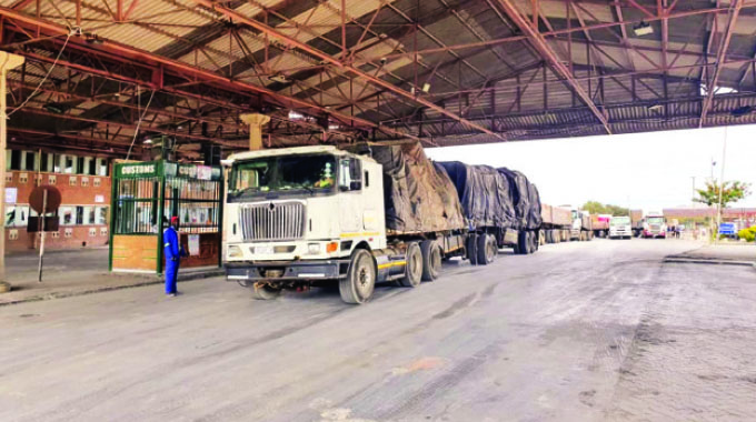 A commercial truck on its way from South Africa awaits to complete Customs formalities at Beitbridge border post recently